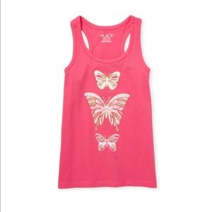 NWT Girls Butterfly Pink Graphic Tank Top M (7/8)